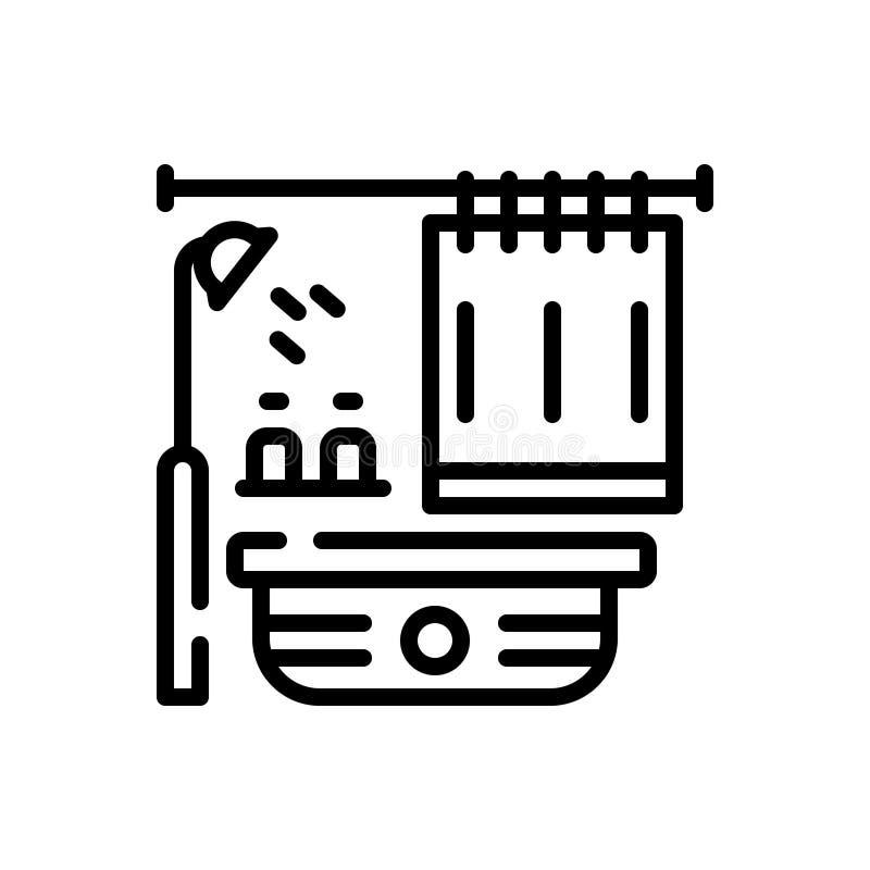 Schwarze Linie Ikone für Badezimmer, Badewanne und Hahn stock abbildung