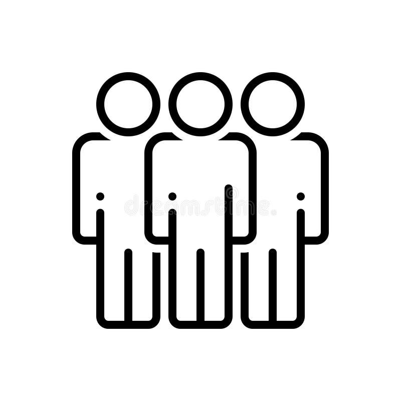 Schwarze Linie Ikone für Begleitung, Firma und Gruppe vektor abbildung