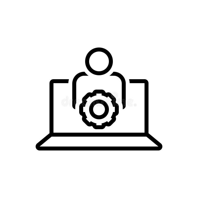 Schwarze Linie Ikone für Benutzer Einstellungen, Konto und App stock abbildung