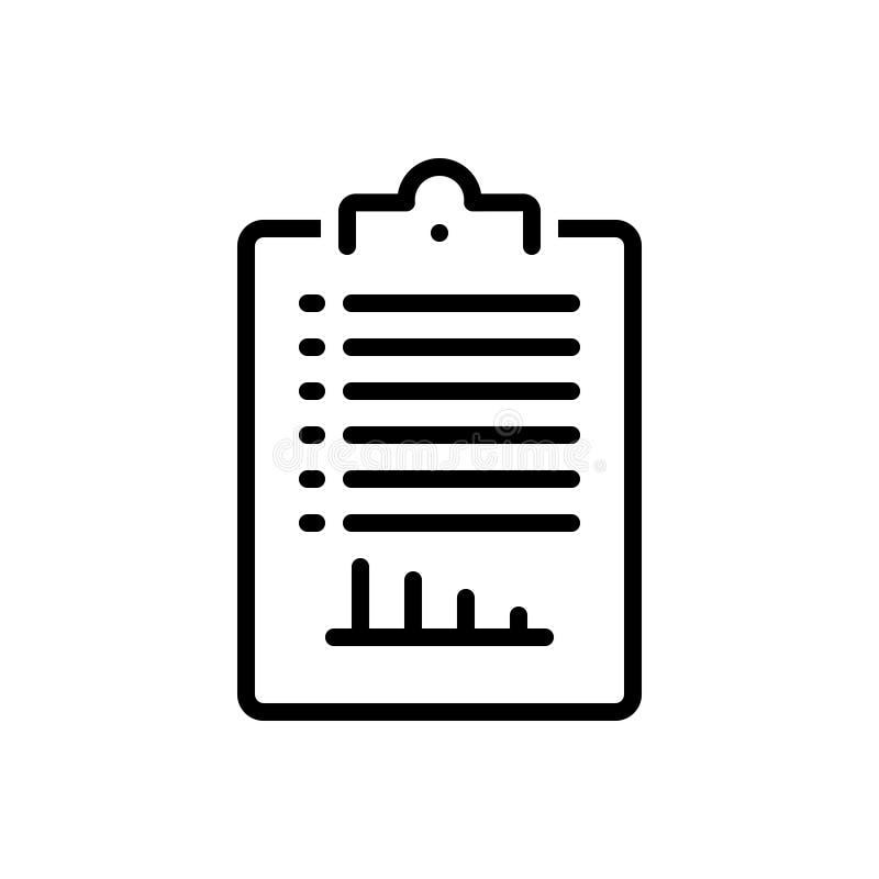 Schwarze Linie Ikone für Bericht, legwork und Protokoll stock abbildung