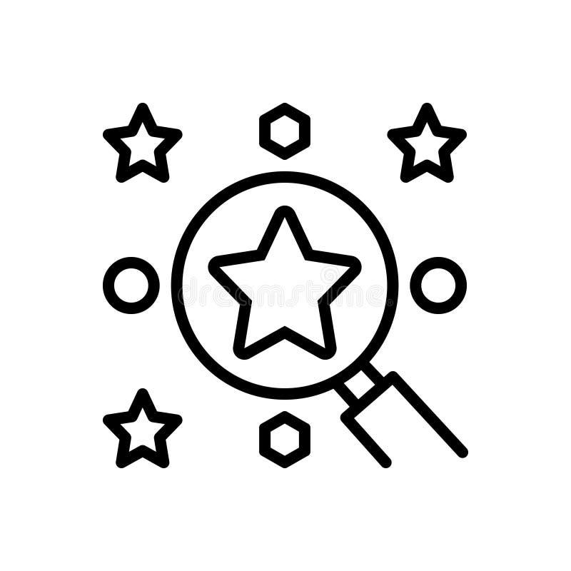 Schwarze Linie Ikone für beste Wahl, Bericht und Geschäft stock abbildung