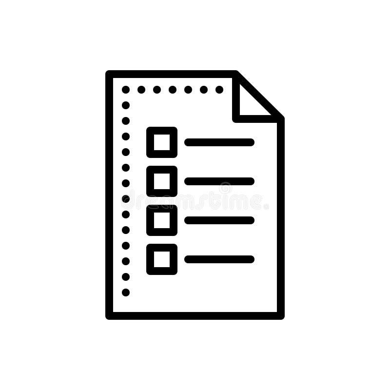 Schwarze Linie Ikone für Blatt, Liste und Dokument lizenzfreie abbildung