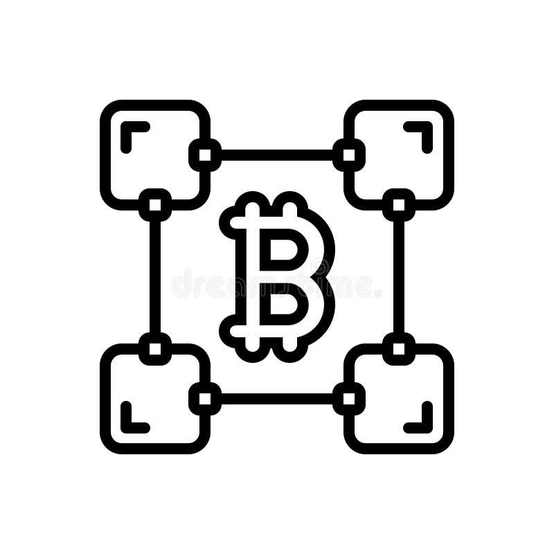 Schwarze Linie Ikone für Blockchain, Block und Kette vektor abbildung