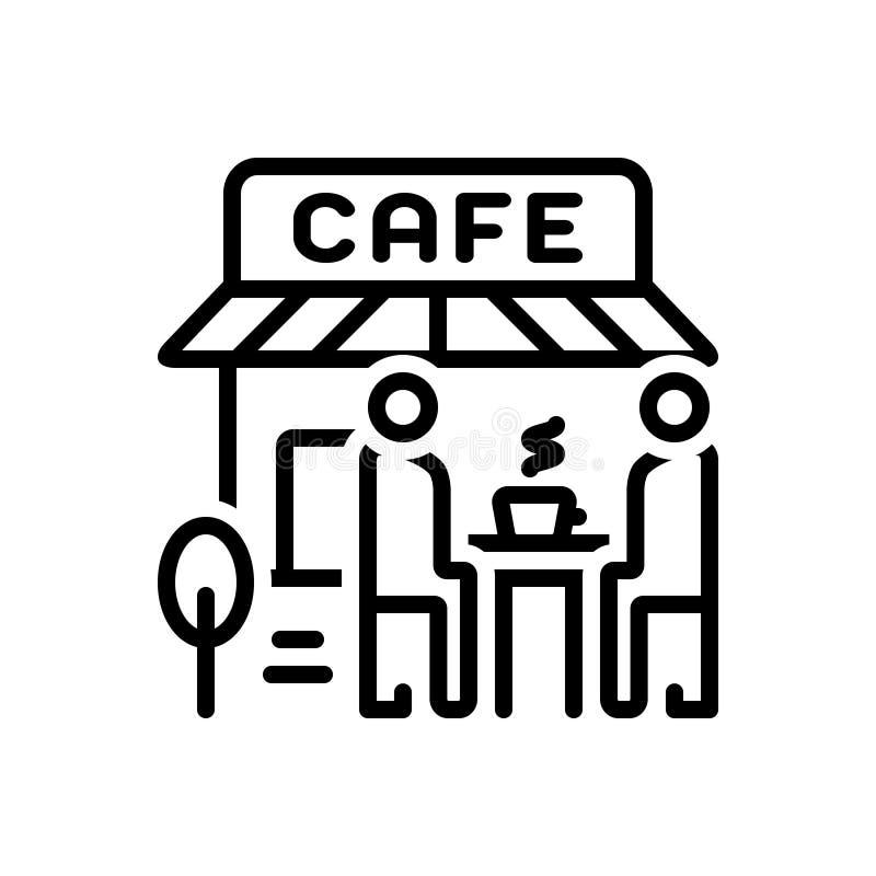 Schwarze Linie Ikone für Cafés, Cafeteria und Geschäft lizenzfreie abbildung