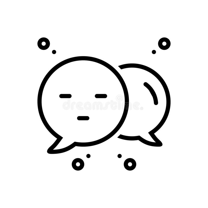 Schwarze Linie Ikone für Commenter, Feedback und Verhandlung vektor abbildung