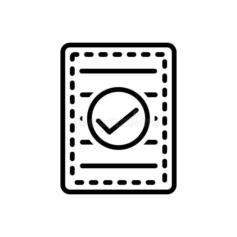 Schwarze Linie Ikone für Confirm, indossieren und genehmigen stock abbildung