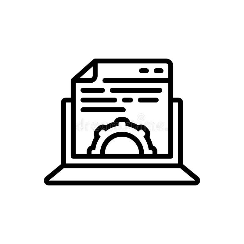 Schwarze Linie Ikone für Content Management, zufriedengestellt und das Gewillt sein lizenzfreie abbildung