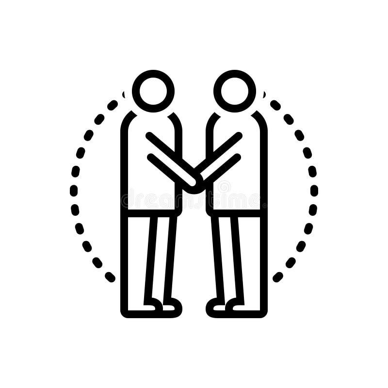 Schwarze Linie Ikone für das Einwilligung, Annahme und angenommen lizenzfreie abbildung