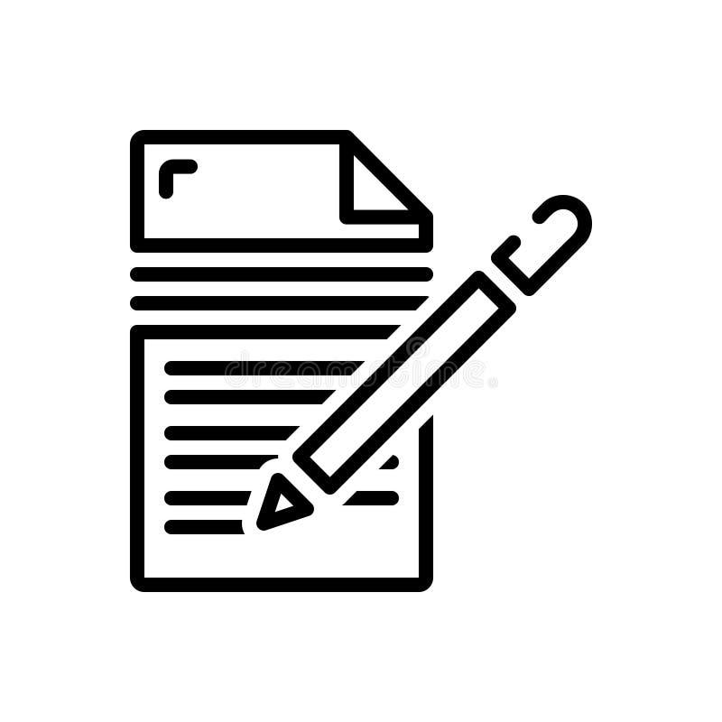 Schwarze Linie Ikone für das Schreiben, die Herausgeber und Verfasser stock abbildung