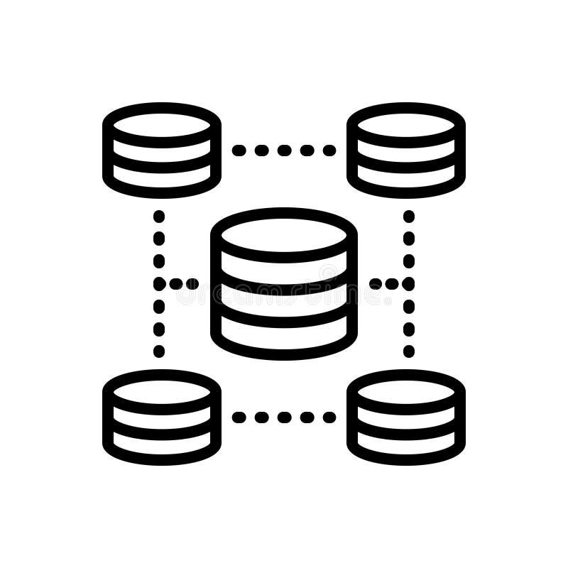 Schwarze Linie Ikone für Datenbank, Zylinder und Management lizenzfreie abbildung