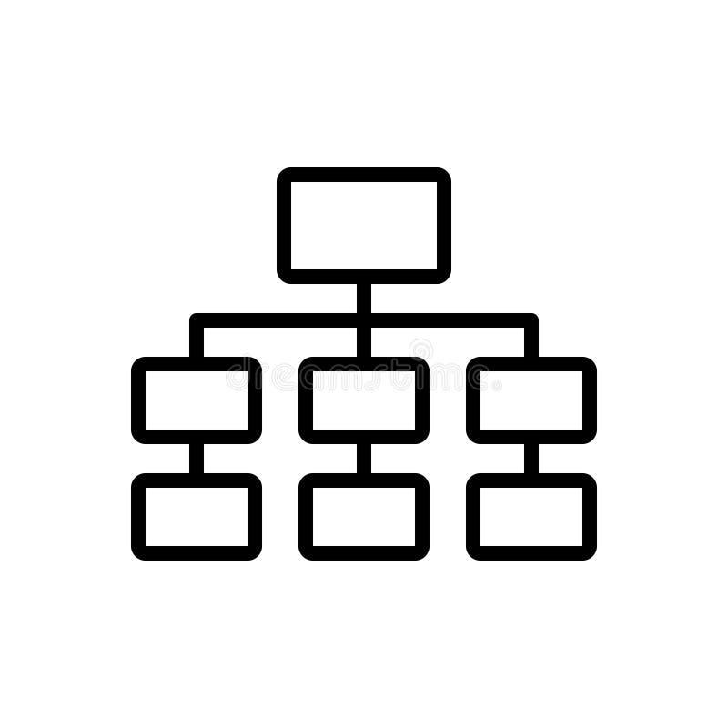 Schwarze Linie Ikone für Diagramm, Plan und Hierarchie lizenzfreie abbildung