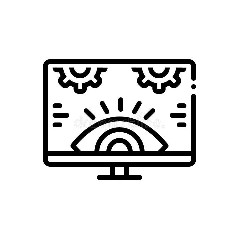 Schwarze Linie Ikone für die Überwachung, Untersuchung und Technologie stock abbildung