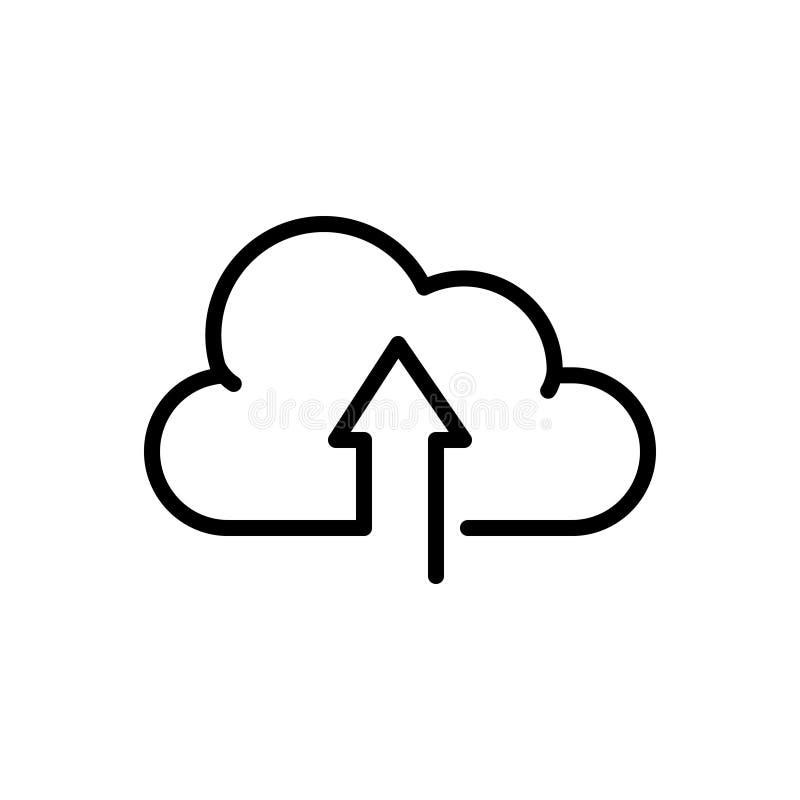 Schwarze Linie Ikone für die Antriebskraft zum sich zu bewölken, die Bewirtung und Netz lizenzfreie abbildung
