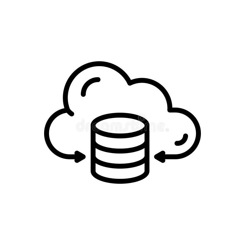 Schwarze Linie Ikone für die Bewirtung, die Daten und Wolke vektor abbildung