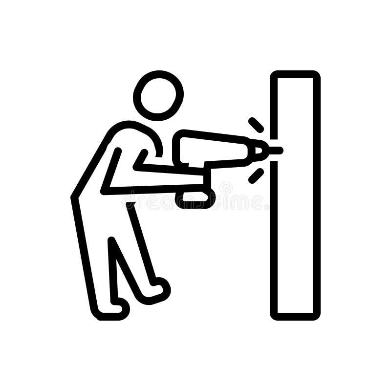 Schwarze Linie Ikone für die Bohrung, Arbeit und Bohrgerät stock abbildung