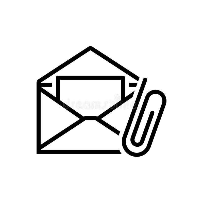 Schwarze Linie Ikone für E-Mail-Zubehör, -befestigung und -clip lizenzfreie abbildung