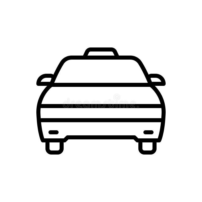 Schwarze Linie Ikone für Fahrerhaus, Taxi und Fahrzeug lizenzfreie abbildung