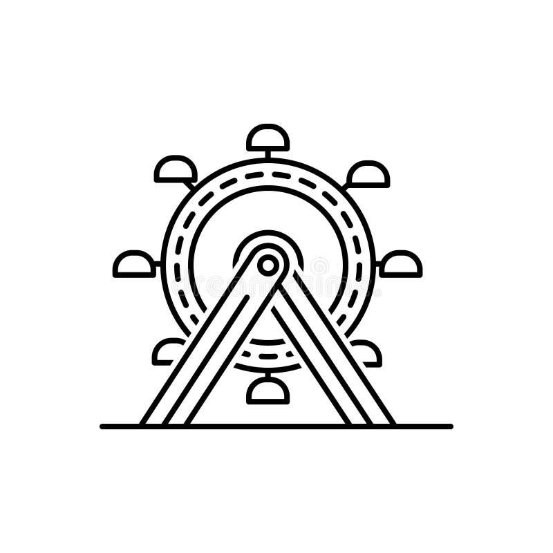 Schwarze Linie Ikone für Ferris, Rad und Unterhaltung lizenzfreie abbildung