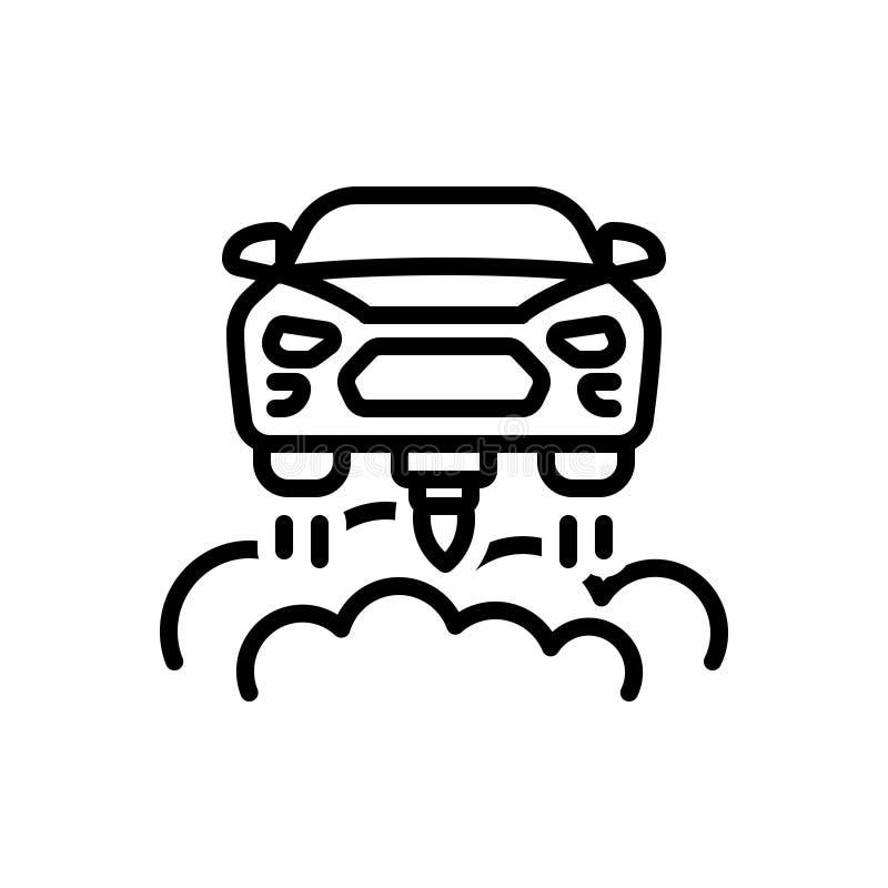 Schwarze Linie Ikone für Flugauto, Schwebeflug und Transport vektor abbildung
