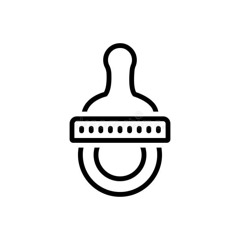Schwarze Linie Ikone für Friedensstifter, soother und Gummi vektor abbildung