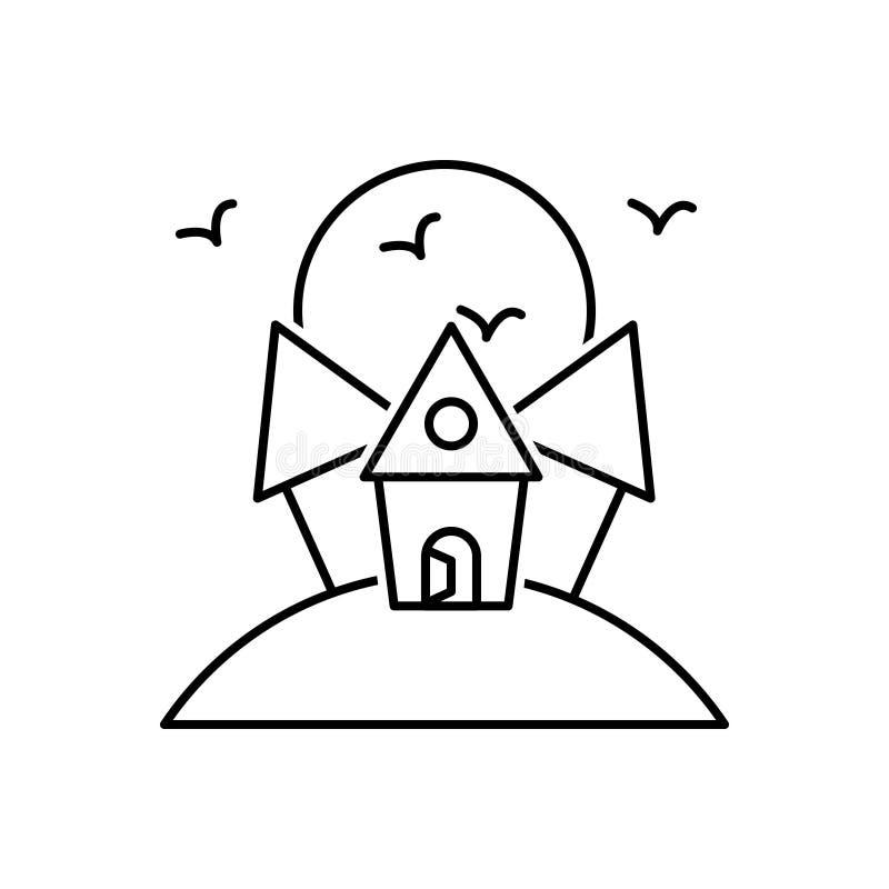 Schwarze Linie Ikone für furchtsames Haus, frequentiert und gruselig lizenzfreie abbildung