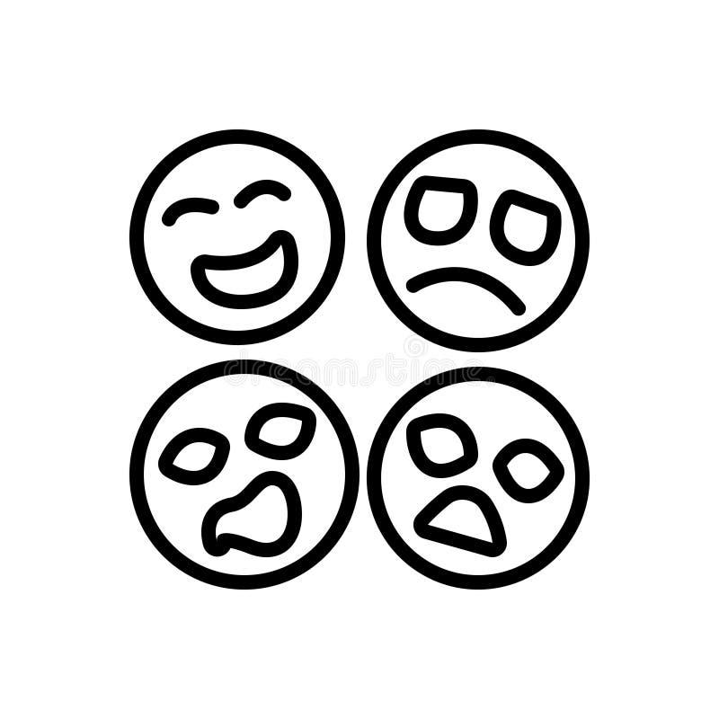 Schwarze Linie Ikone für Gefühl, Gefühl und Richtung vektor abbildung