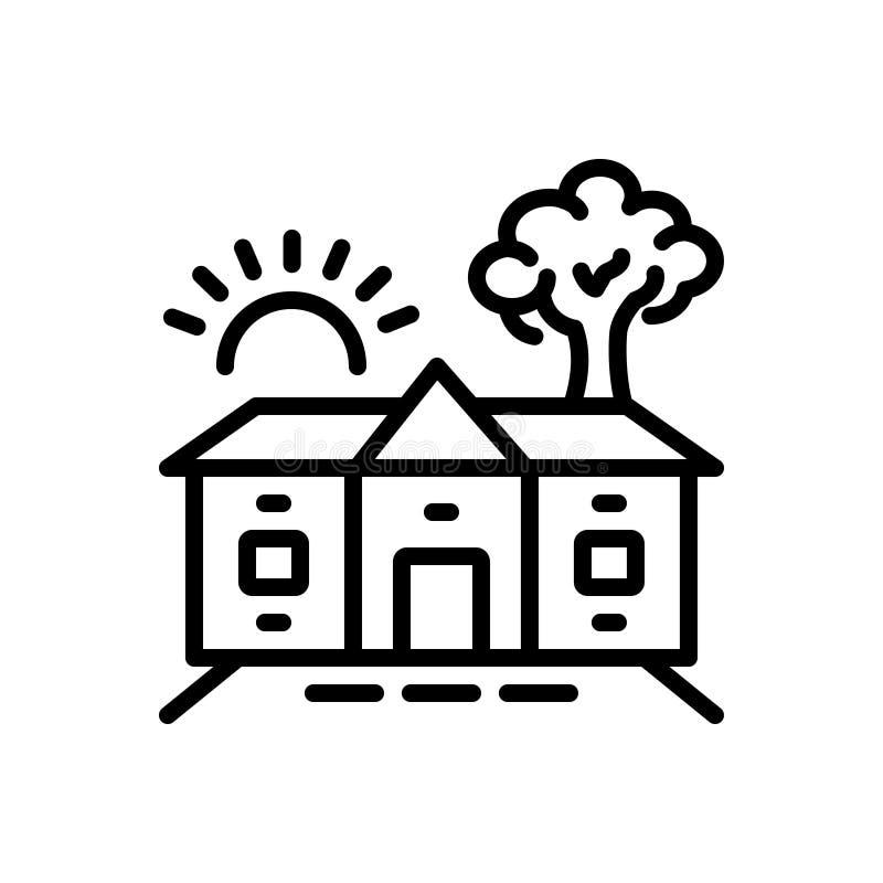 Schwarze Linie Ikone für Gehöft, Barton und Eigentum lizenzfreie abbildung