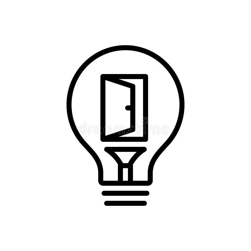 Schwarze Linie Ikone für Gelegenheit, Bequemlichkeit und Möglichkeit lizenzfreie abbildung