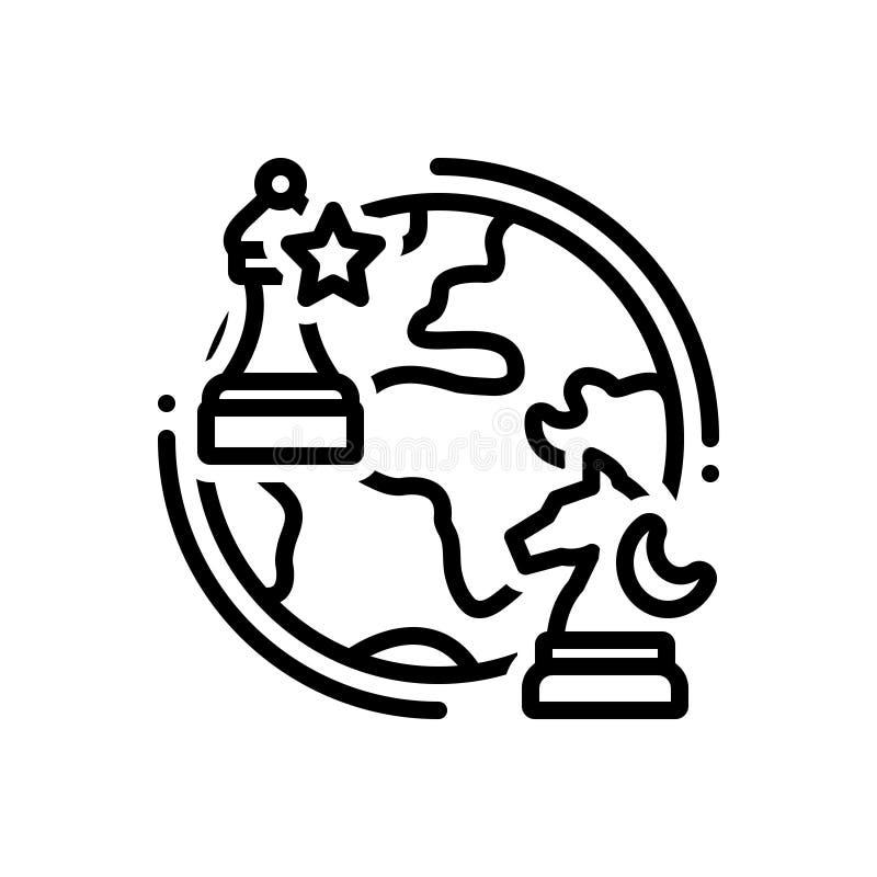 Schwarze Linie Ikone für Geopolitik, Schach und Kugel lizenzfreie abbildung