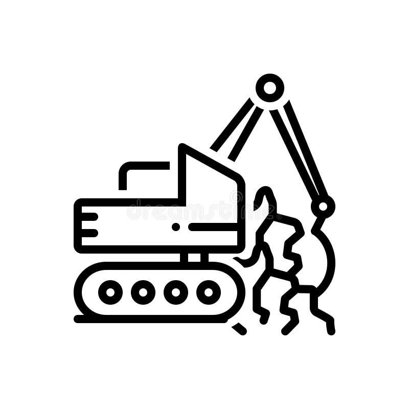 Schwarze Linie Ikone für Geotechnics, geotechnisches und die Bohrung lizenzfreie abbildung