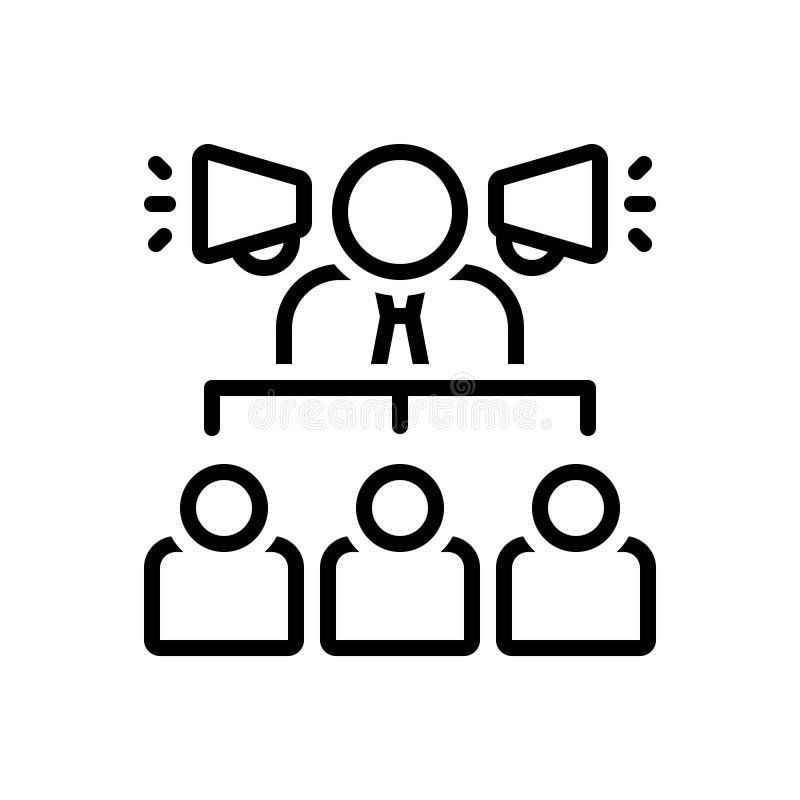 Schwarze Linie Ikone für Geschäftsmann With ein Sprecher, ein hierarchisch und Sprecher lizenzfreie abbildung