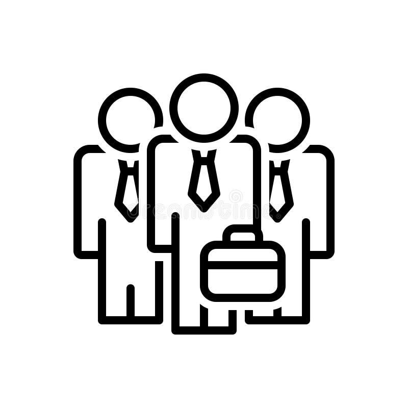 Schwarze Linie Ikone für Geschäftsmann Team, Versammlung und Organisation lizenzfreie abbildung