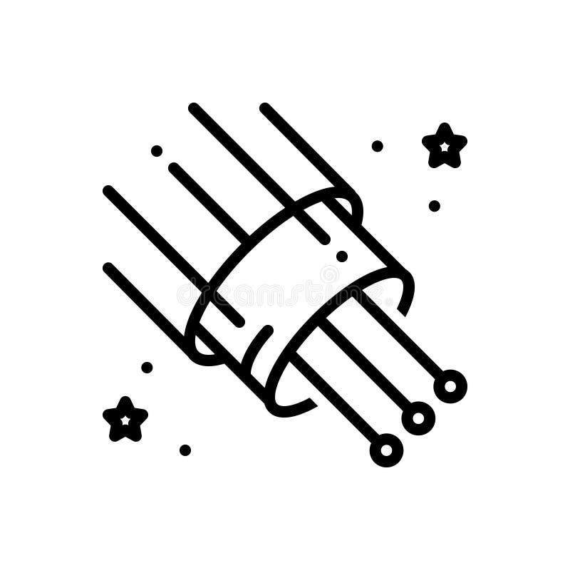 Schwarze Linie Ikone für Glasfaser-, Kabel und Breitband vektor abbildung