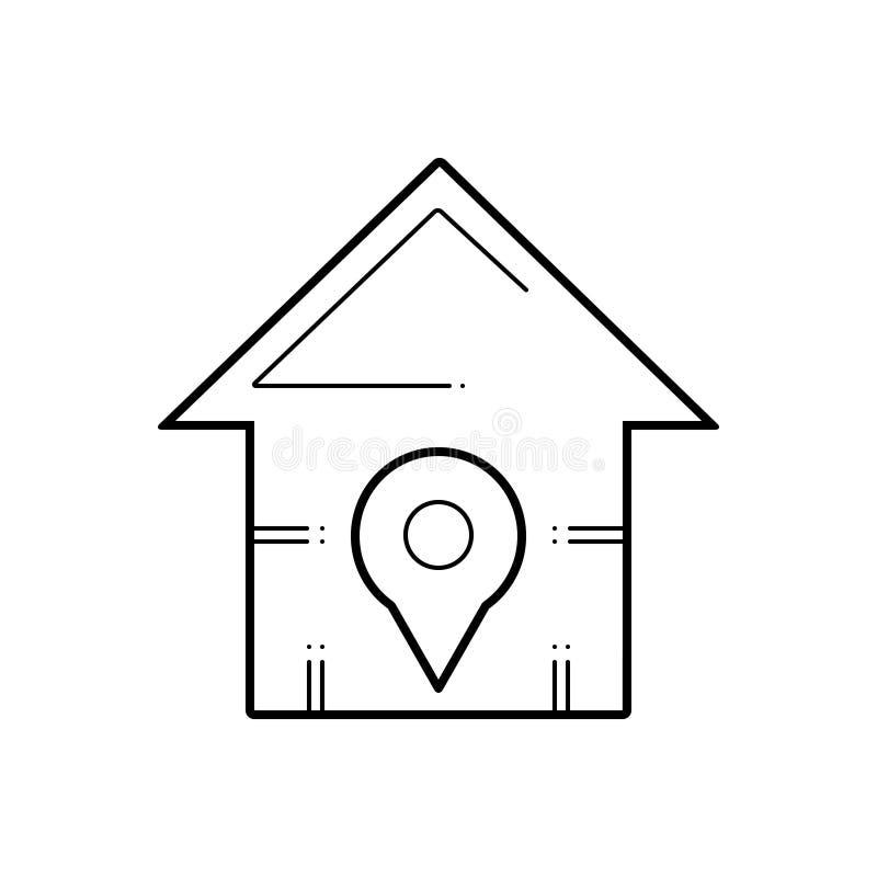 Schwarze Linie Ikone für Hauptstandort, Anwendung und Stadt lizenzfreie abbildung