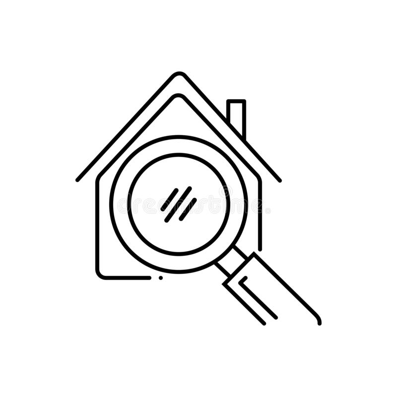Schwarze Linie Ikone für Hauptsuche, Eigentum und Haus stock abbildung