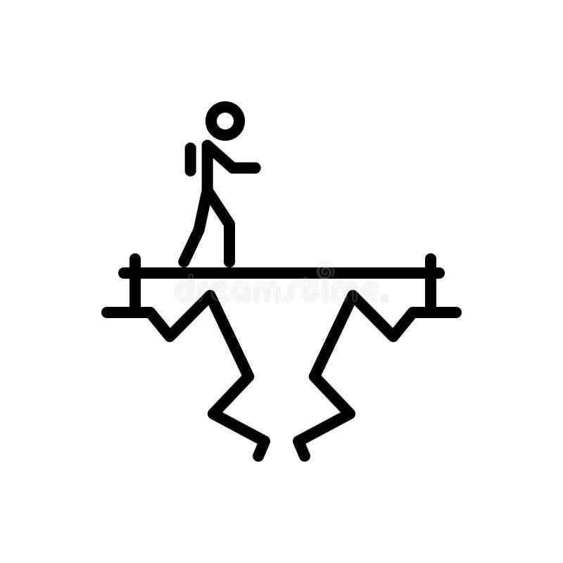 Schwarze Linie Ikone f?r Herausforderung, Ziel und Ziel lizenzfreie abbildung