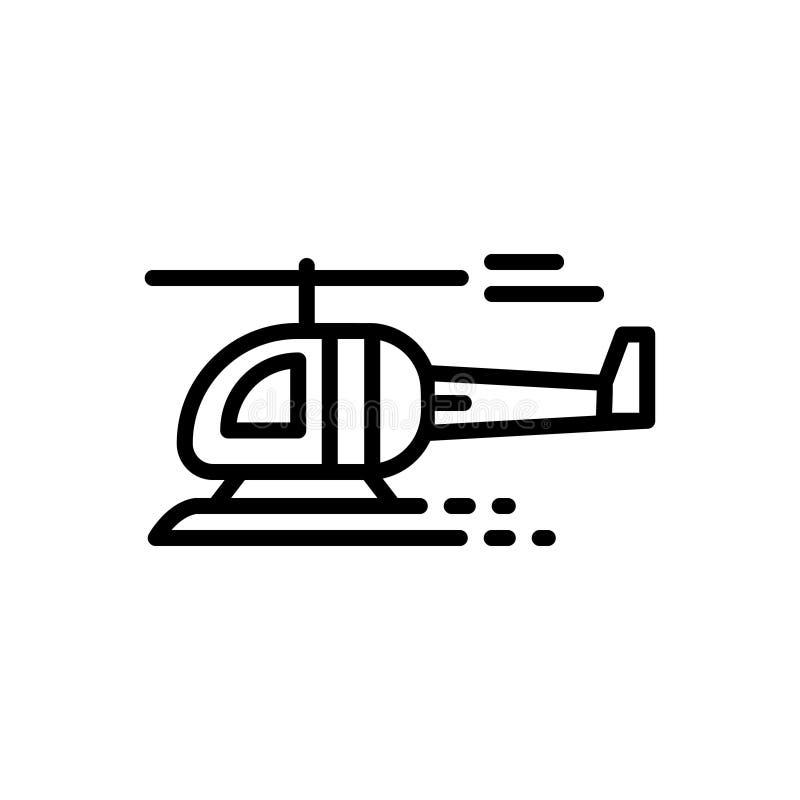 Schwarze Linie Ikone für Hubschrauber, Flugzeuge, Jet und Fliege stock abbildung