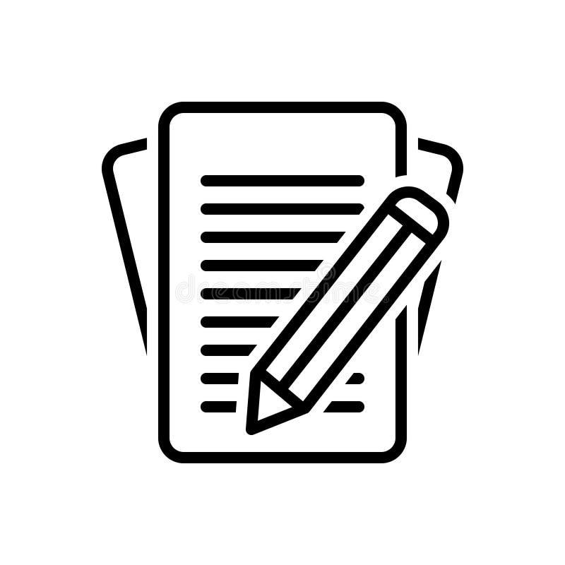 Schwarze Linie Ikone für Inscribe, schreiben und verfassen lizenzfreie abbildung