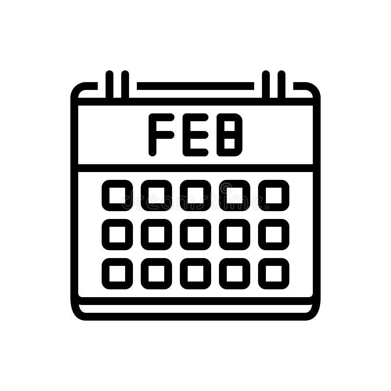 Schwarze Linie Ikone für Kalender, Verabredung und Diagramm lizenzfreie abbildung