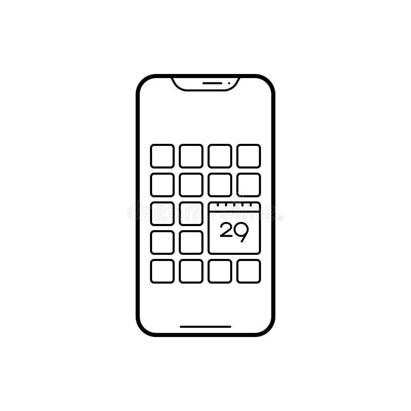 Schwarze Linie Ikone für Kalenderapp, -gerät und -anwendung stock abbildung