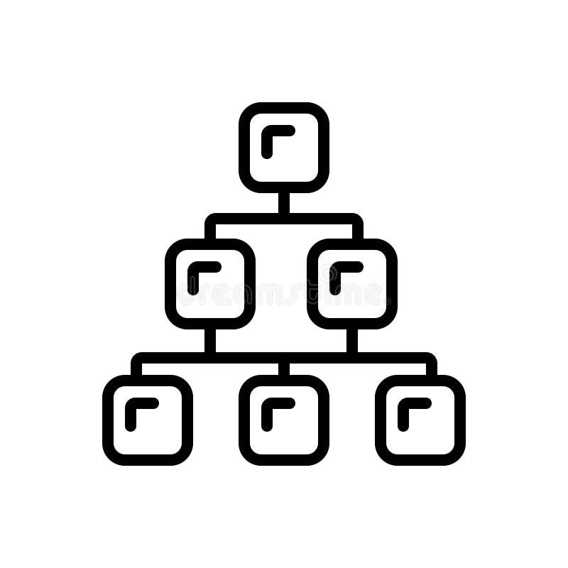 Schwarze Linie Ikone für Kategorie, Strecke und Klasse stock abbildung