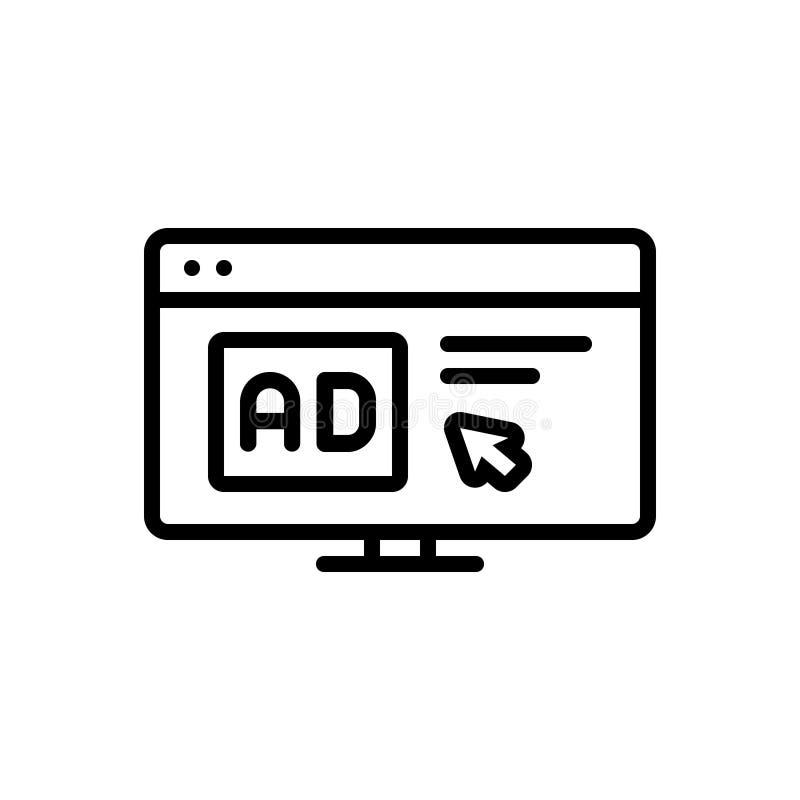Schwarze Linie Ikone für Klickenanzeige, -computer und -maus lizenzfreie abbildung