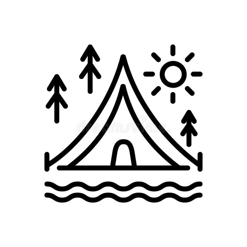 Schwarze Linie Ikone für Lager, Zelt und Markise vektor abbildung