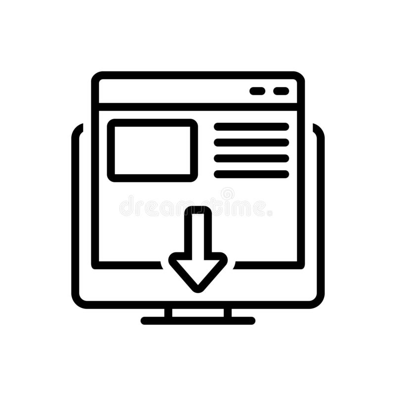 Schwarze Linie Ikone für Landungsseite, Landung und Seite stock abbildung