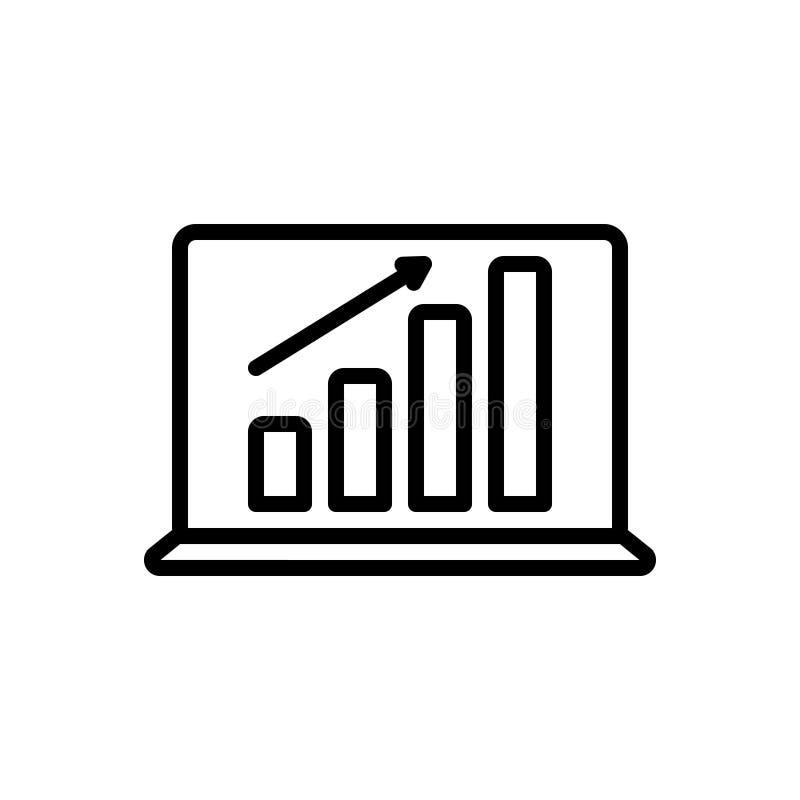 Schwarze Linie Ikone für Laptop-Gewinngraphiken, -diagramm und -finanzierung vektor abbildung