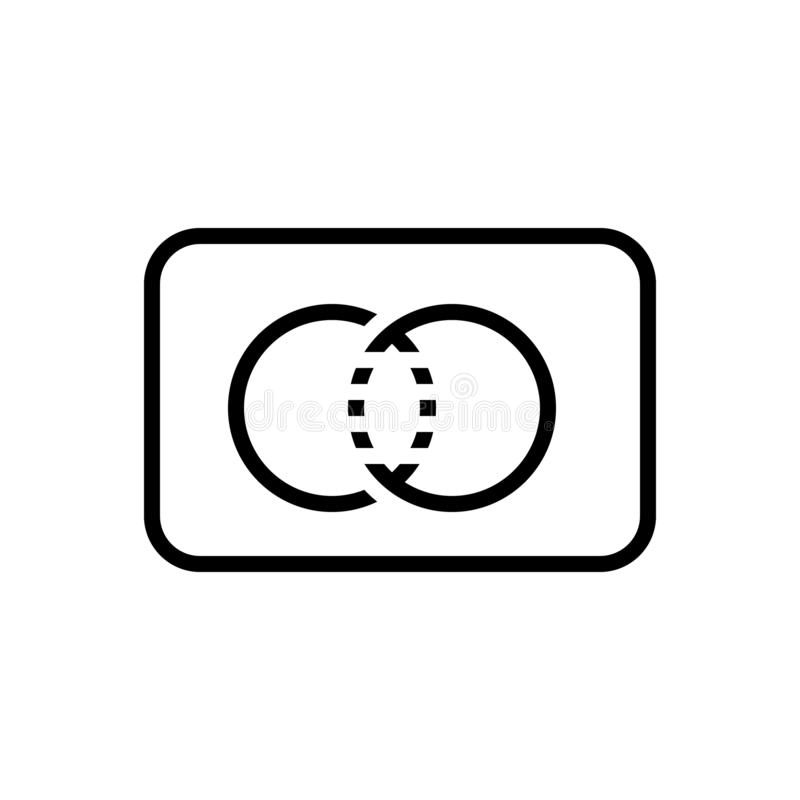 Schwarze Linie Ikone für MasterCard, Zahlungskarte und Karte lizenzfreie abbildung
