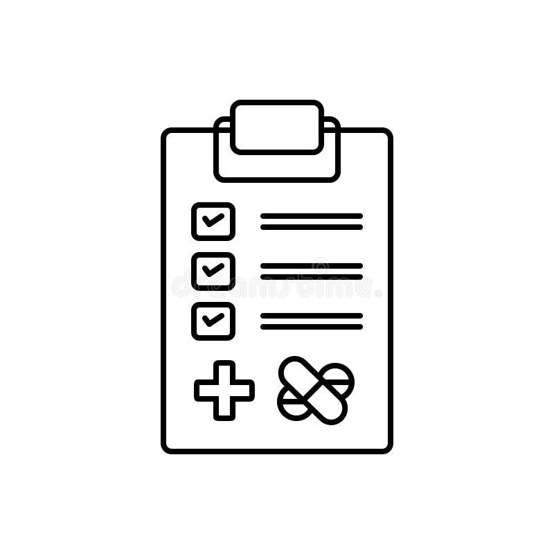 Schwarze Linie Ikone für medizinische Tests, Untersuchung und Forschung lizenzfreie abbildung