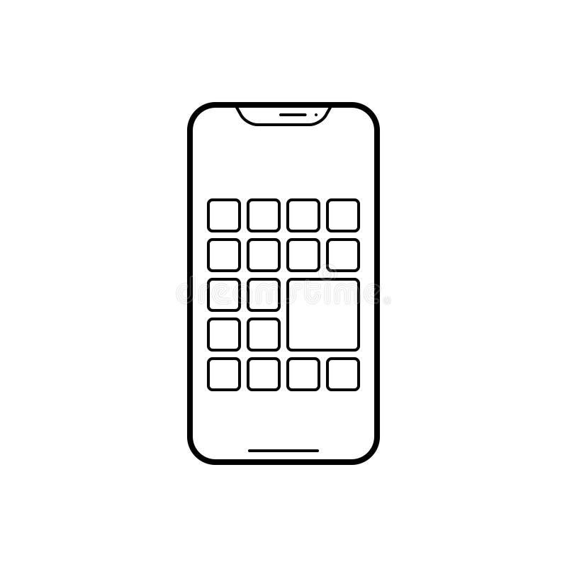 Schwarze Linie Ikone für mehrfache Apps, Smartphone und Anwendung lizenzfreie abbildung