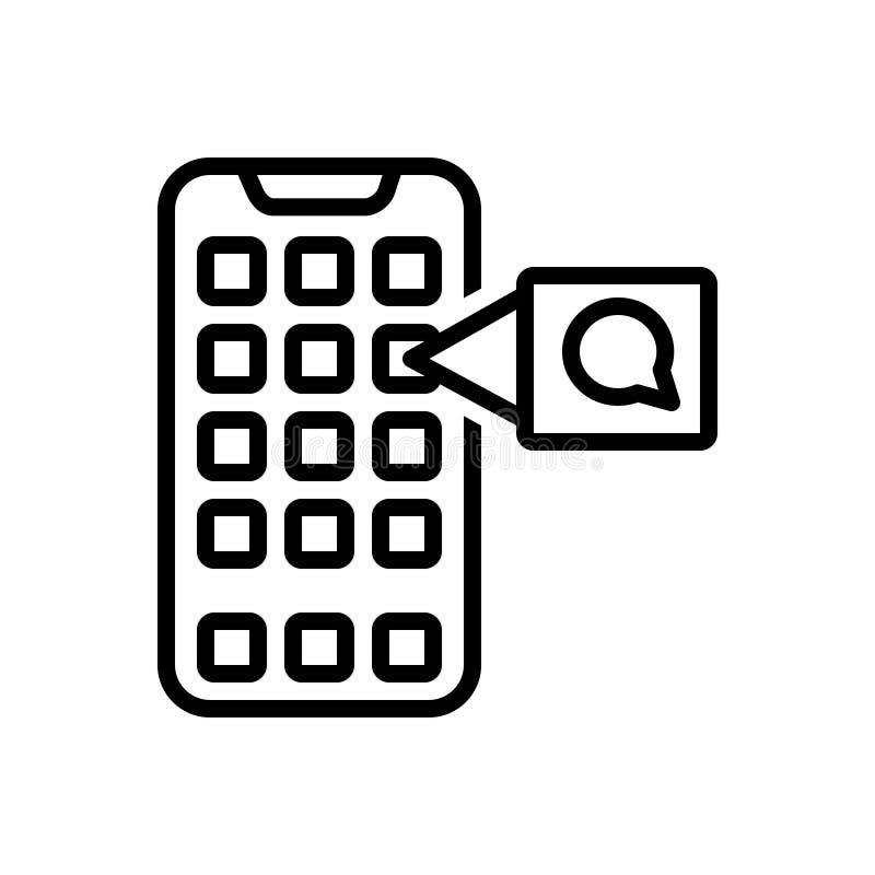 Schwarze Linie Ikone für Mobile, Anwendung und App lizenzfreie abbildung