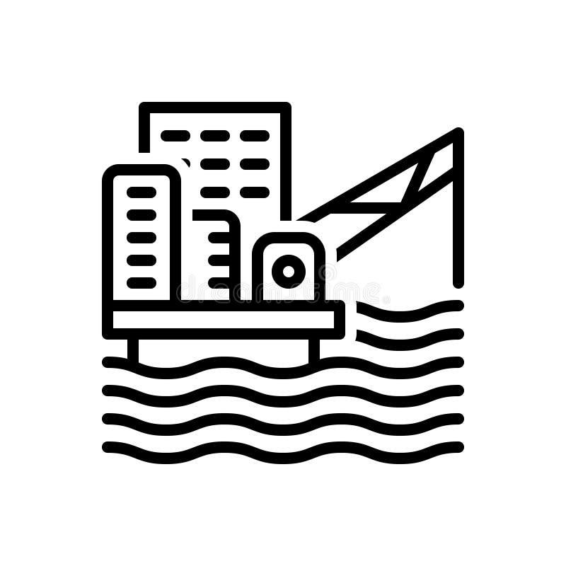 Schwarze Linie Ikone für Offshoreplattform, Bohrinsel und Bohrung stock abbildung